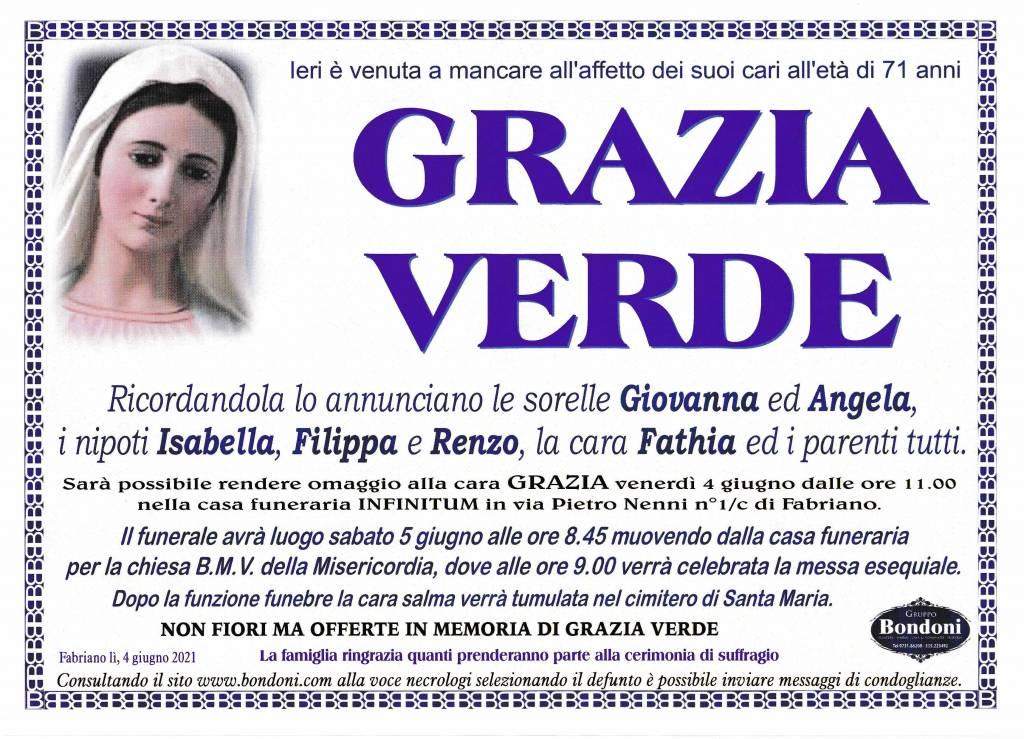 Manifesto funebre di  Grazia Verde