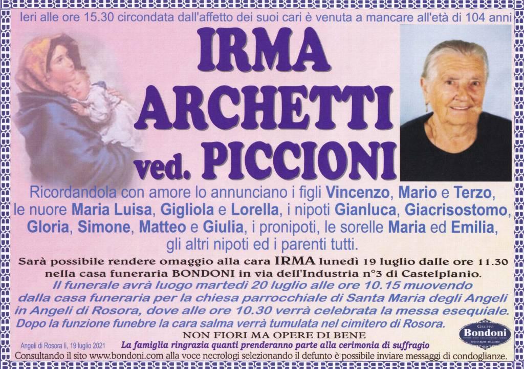 Manifesto funebre di  Irma Archetti