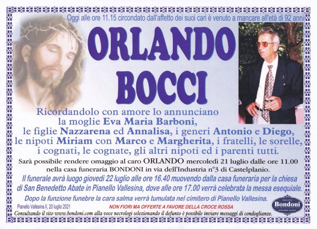 Manifesto funebre di  Orlando Bocci
