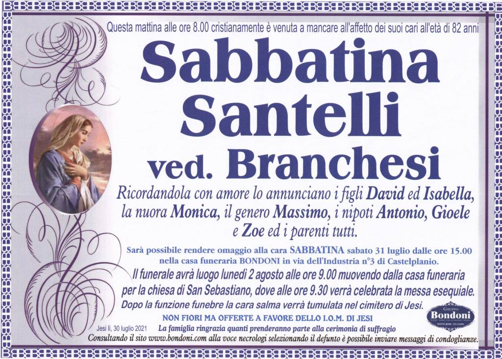 Manifesto funebre di  Sabbatina Santelli