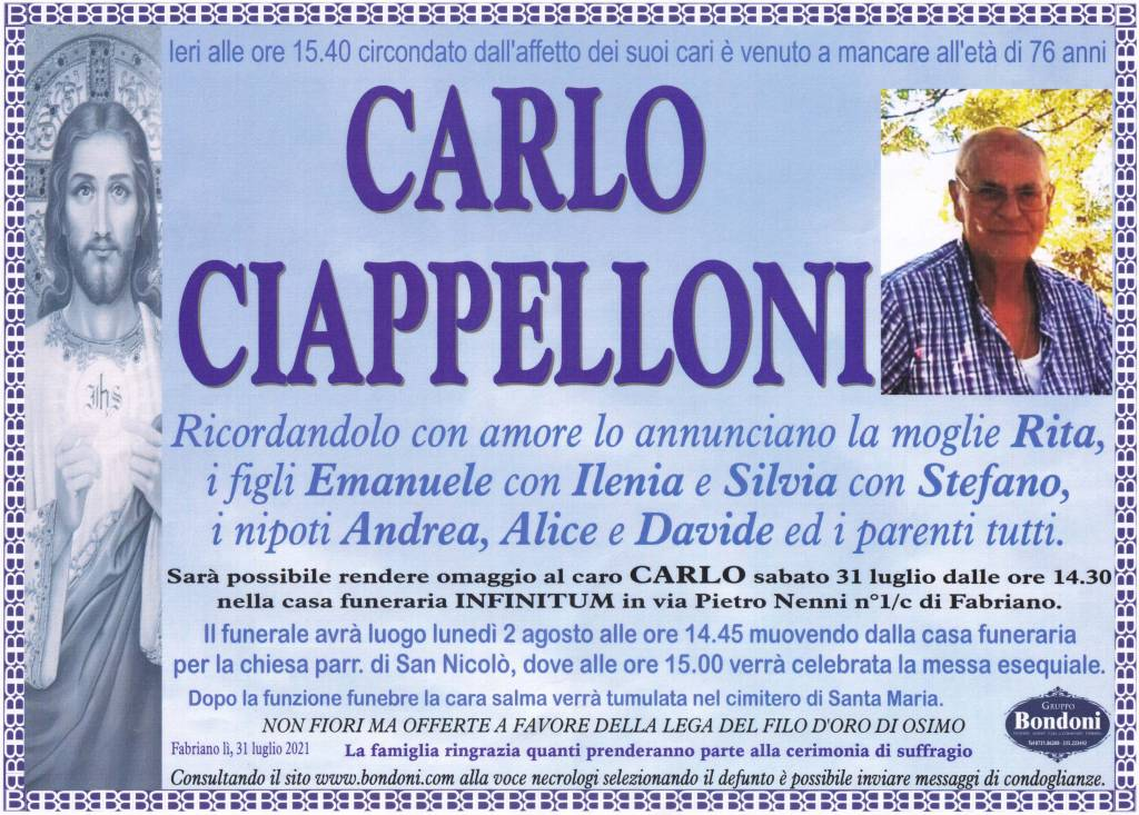 Manifesto funebre di  Carlo Ciappelloni
