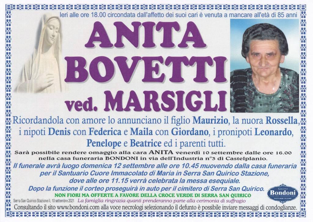 Manifesto funebre di  Anita Bovetti