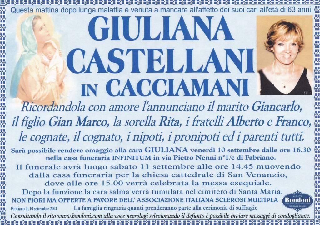 Manifesto funebre di  Giuliana Castellani