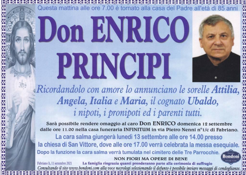 Manifesto funebre di Don Enrico Principi