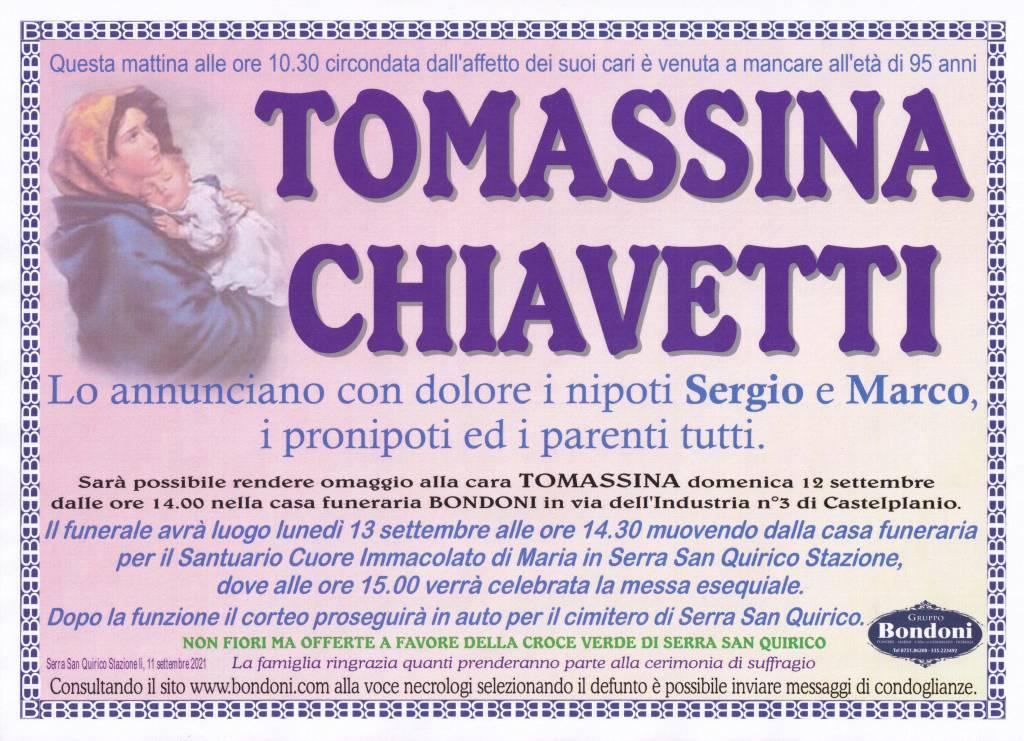 Manifesto funebre di  Tomassina Chiavetti
