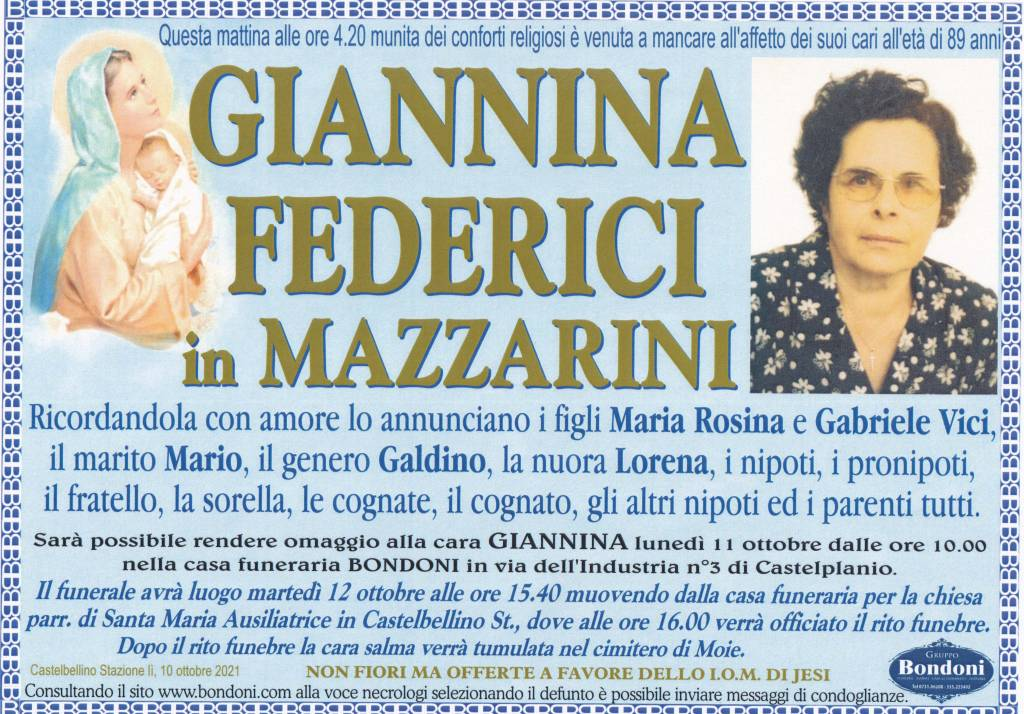 Manifesto funebre di  Giannina Federici