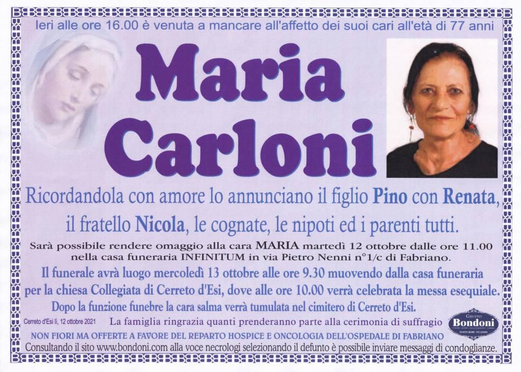 Manifesto funebre di  Maria Carloni