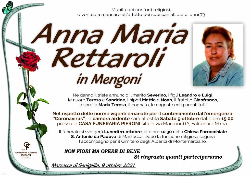 Manifesto funebre di  Anna Maria Rettaroli