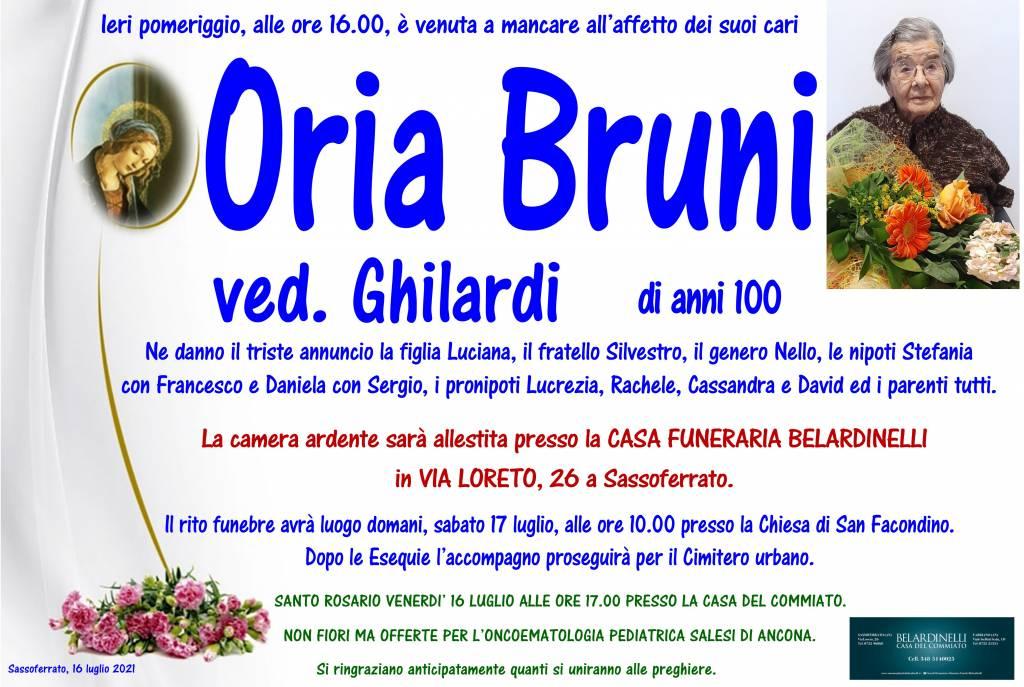 Manifesto funebre di  Oria Bruni