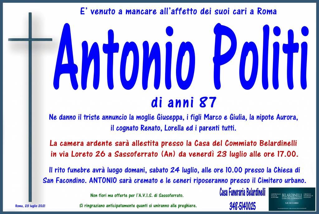 Manifesto funebre di  Antonio Politi