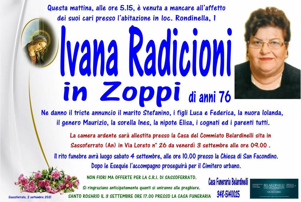 Manifesto funebre di  Ivana Radicioni