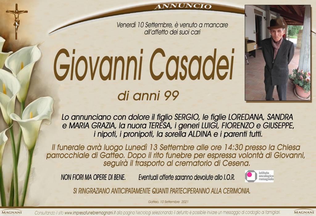 Manifesto funebre di  Giovanni Casadei