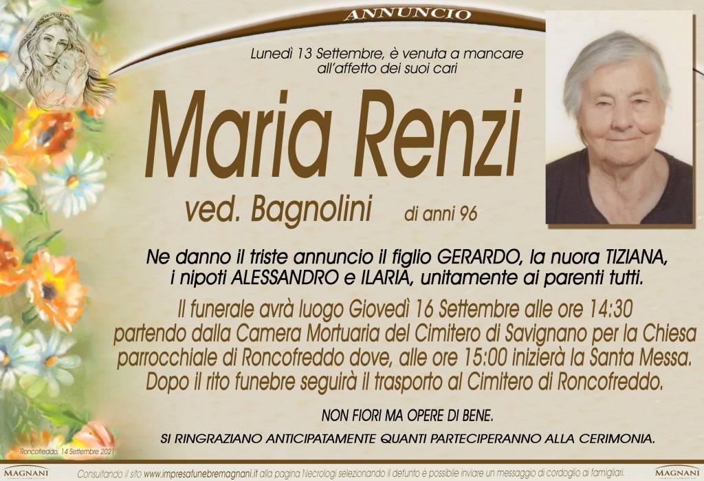 Manifesto funebre di  Maria Renzi