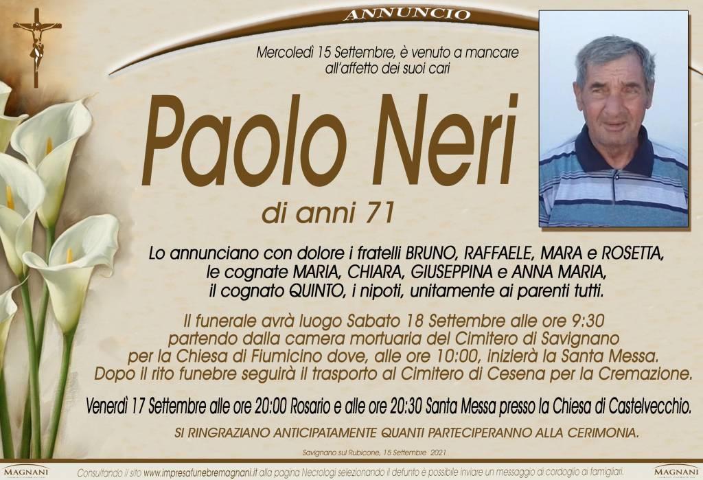 Manifesto funebre di  Paolo Neri