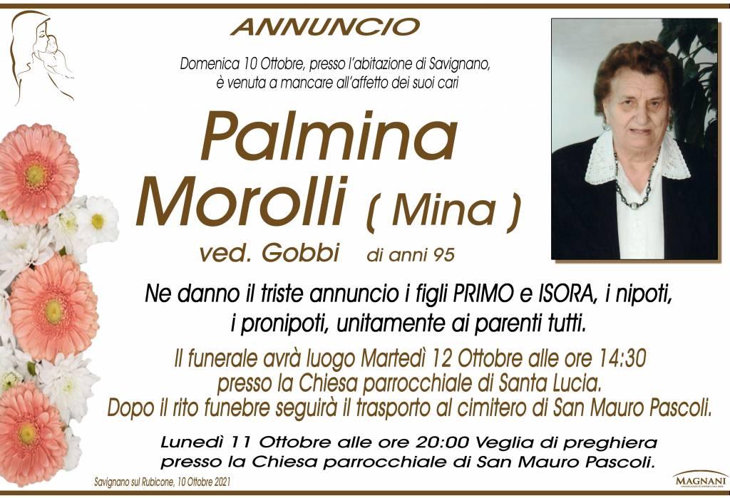 Manifesto funebre di  Palmina Morolli 'Mina'
