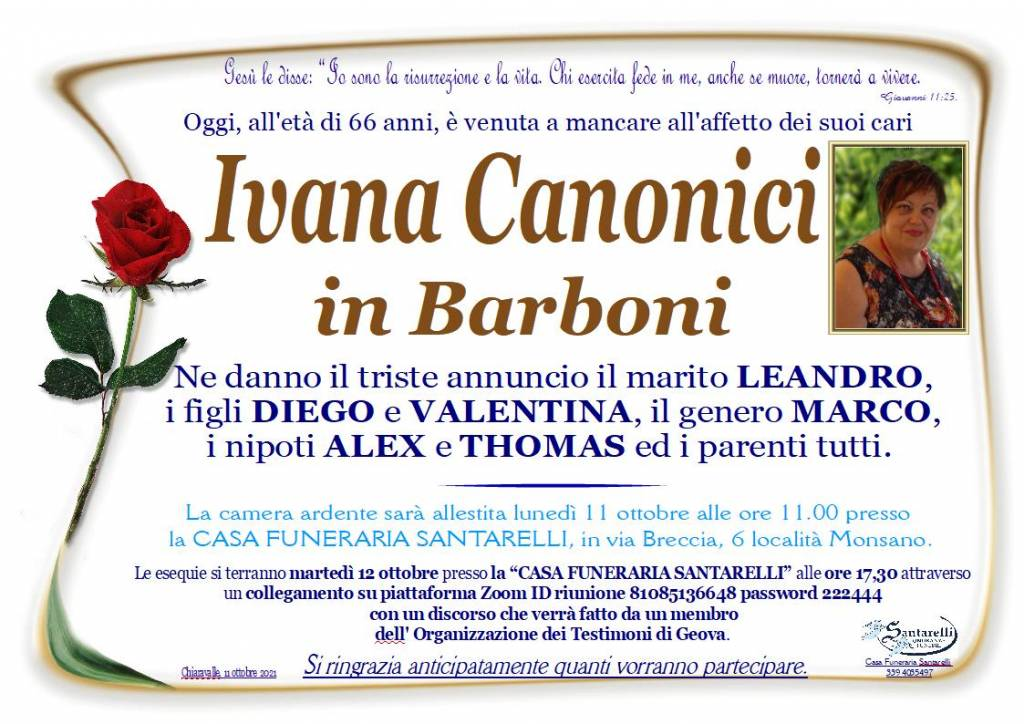 Manifesto funebre di  Ivana Canonici