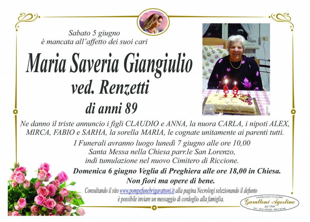 Manifesto funebre di  Maria Saveria Giangiulio