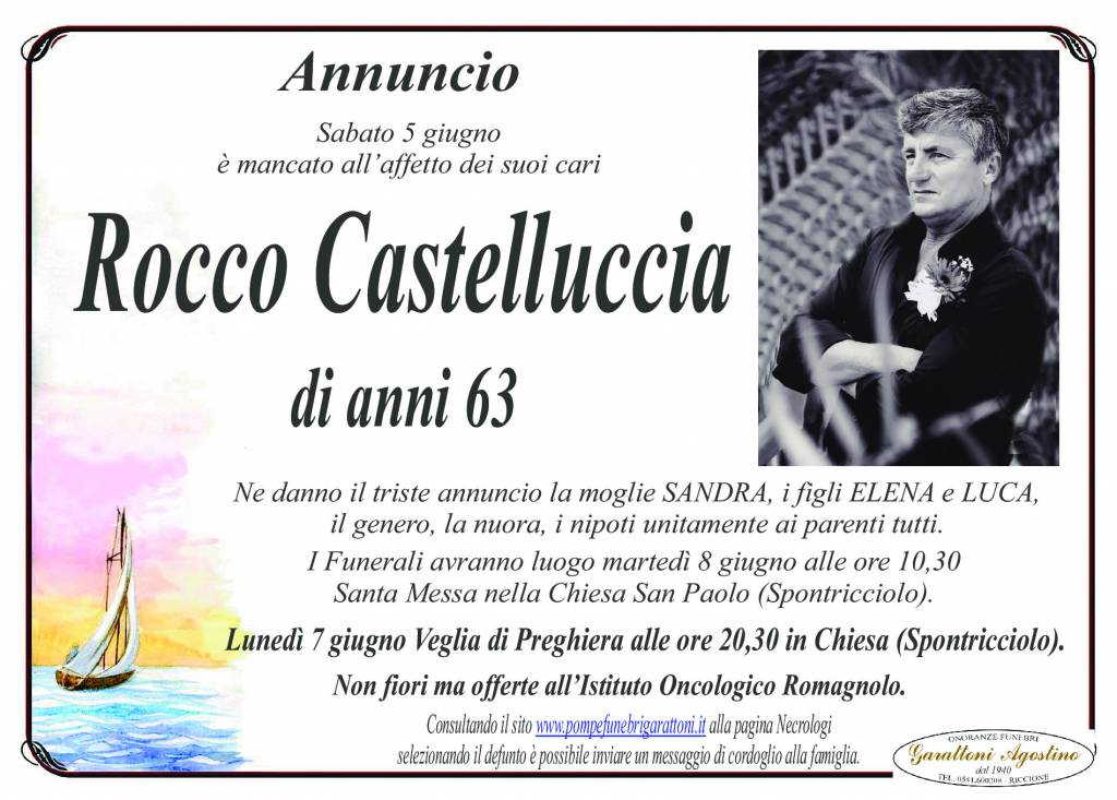 Manifesto funebre di  Rocco Castelluccia