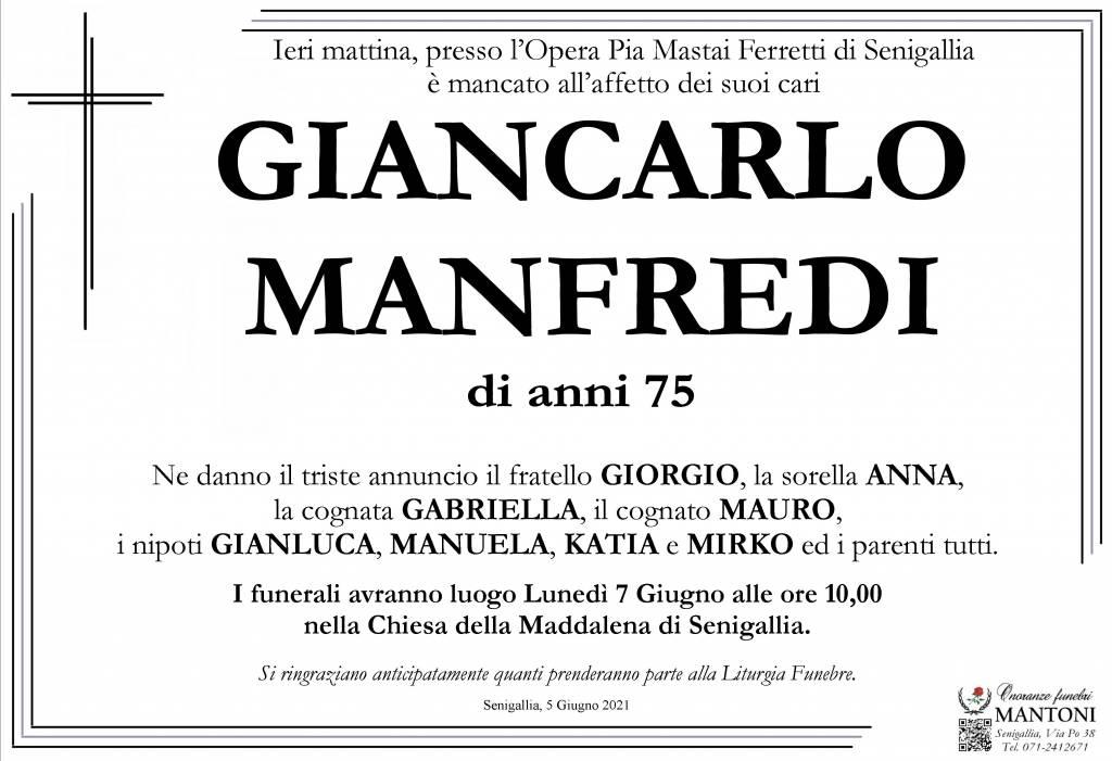 Manifesto funebre di  Giancarlo Manfredi