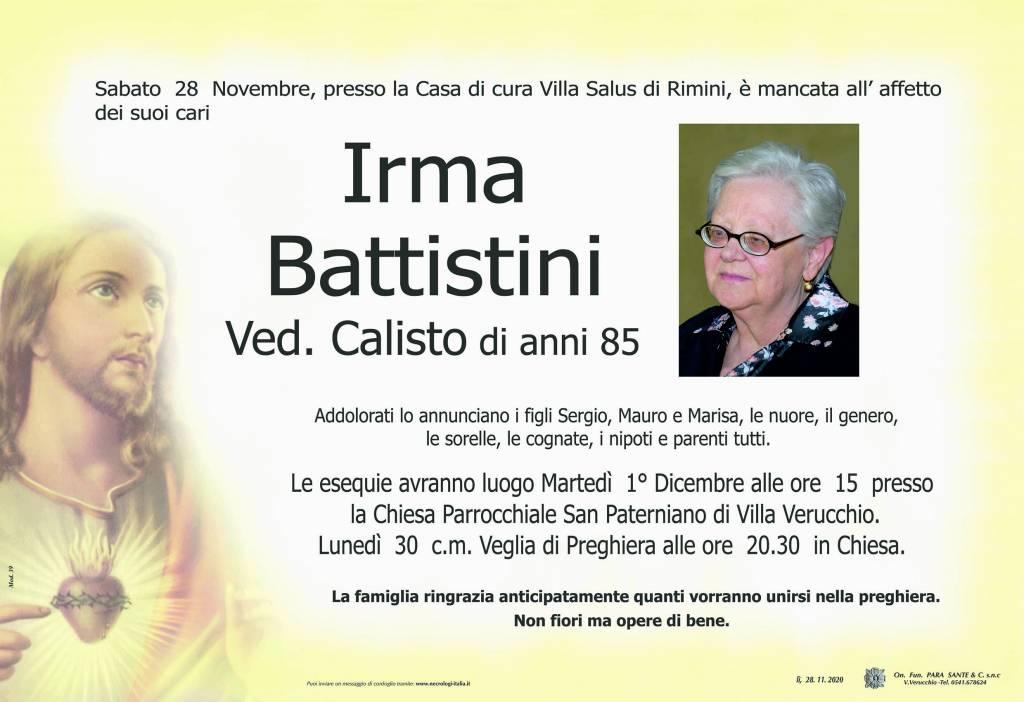 Manifesto funebre di  Irma Battistini