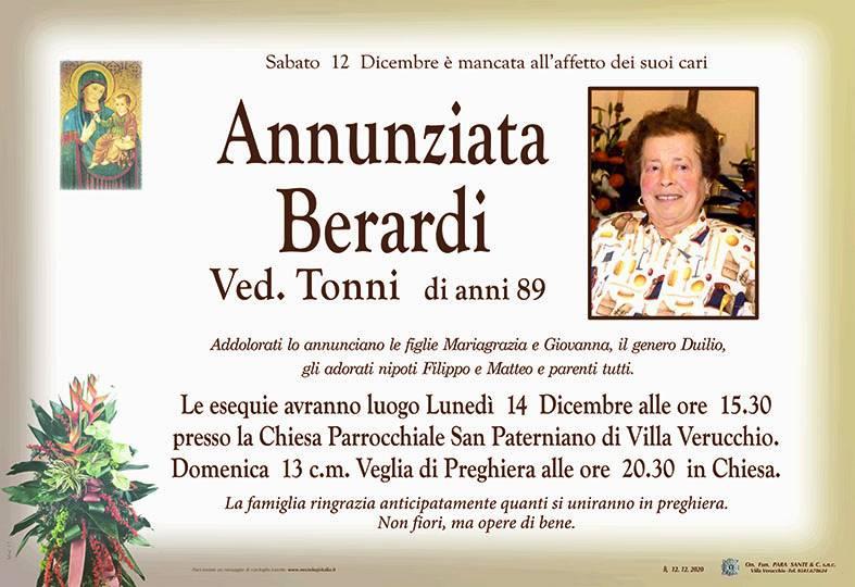 Manifesto funebre di  Annunziata Berardi