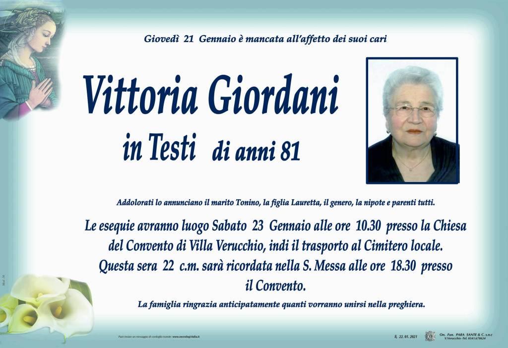 Manifesto funebre di  Vittoria Giordani