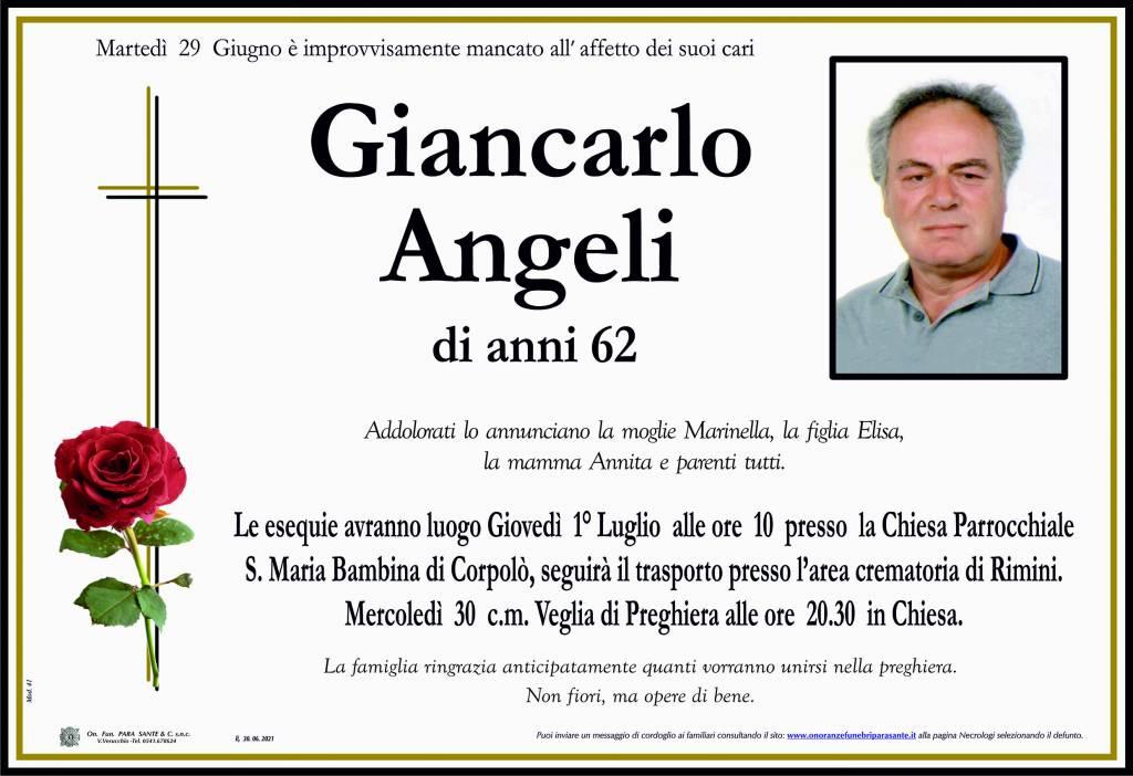 Manifesto funebre di  Giancarlo Angeli