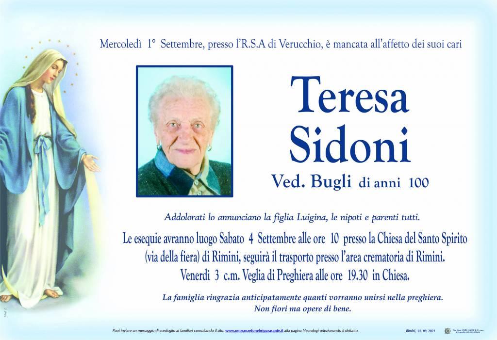 Manifesto funebre di  Teresa Sidoni
