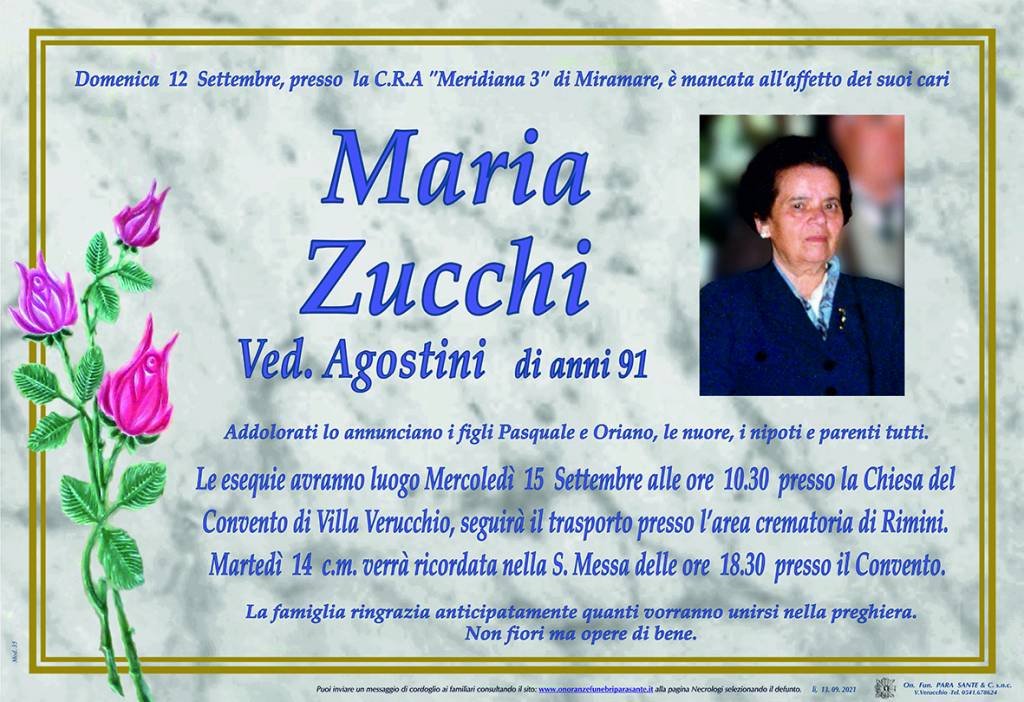 Manifesto funebre di  Maria Zucchi