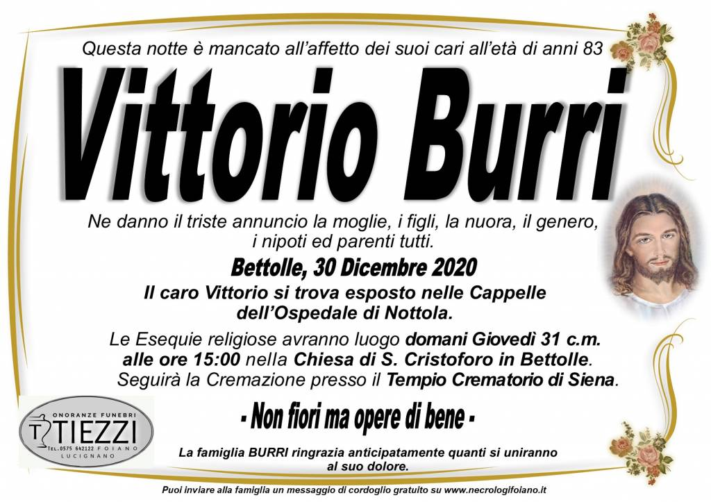 Manifesto funebre di  Vittorio Burri