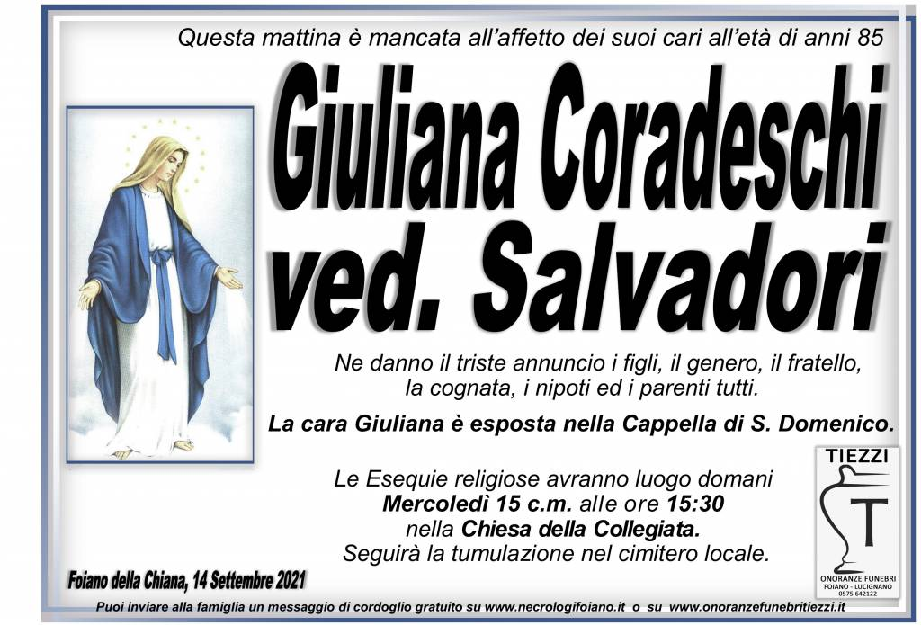 Manifesto funebre di  Giuliana Coradeschi