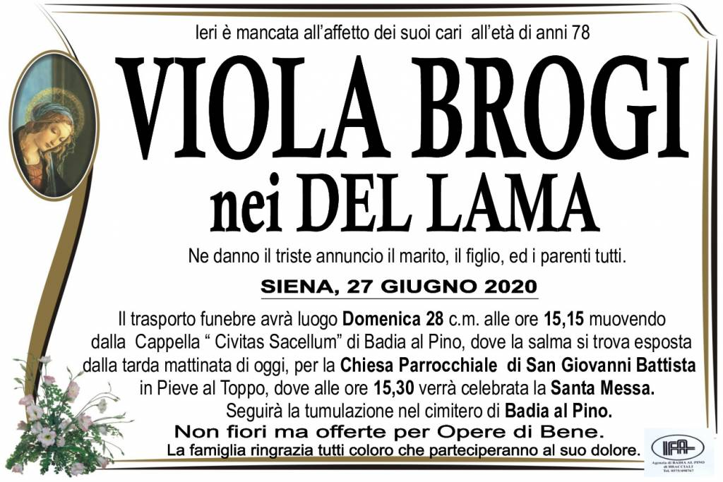 Manifesto funebre di  Viola Brogi