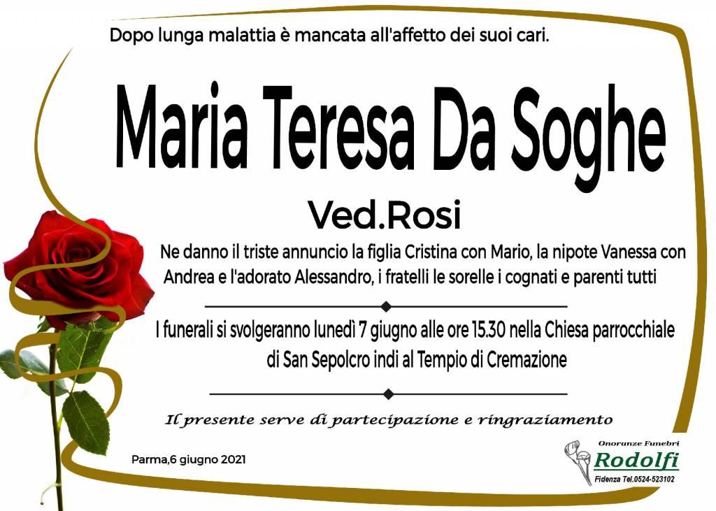 Manifesto funebre di  Maria Teresa Da Soghe