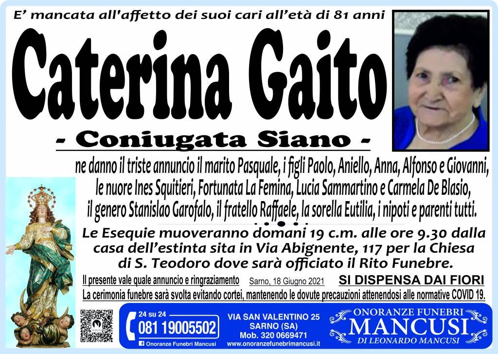 Manifesto funebre di  Caterina Gaito