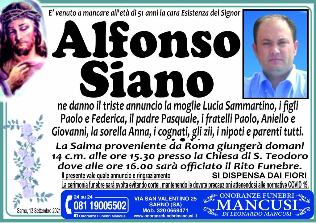 Manifesto funebre di  Alfonso Siano