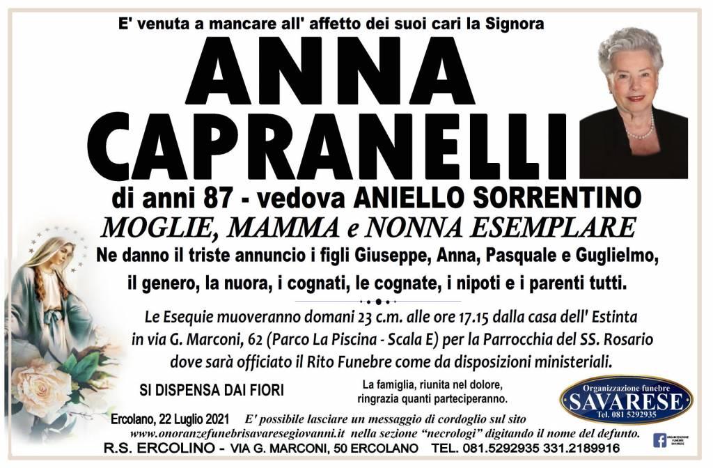 Manifesto funebre di  Anna Capranelli