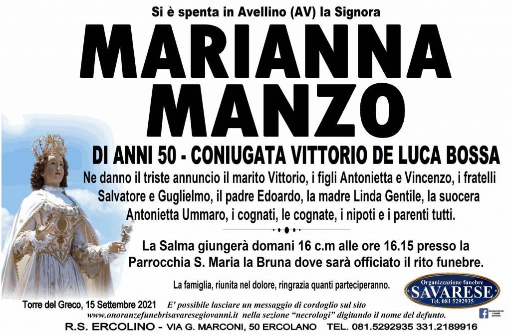 Manifesto funebre di  Marianna Manzo