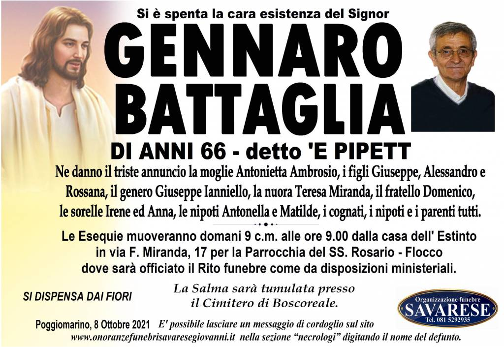 Manifesto funebre di  Gennaro Battaglia
