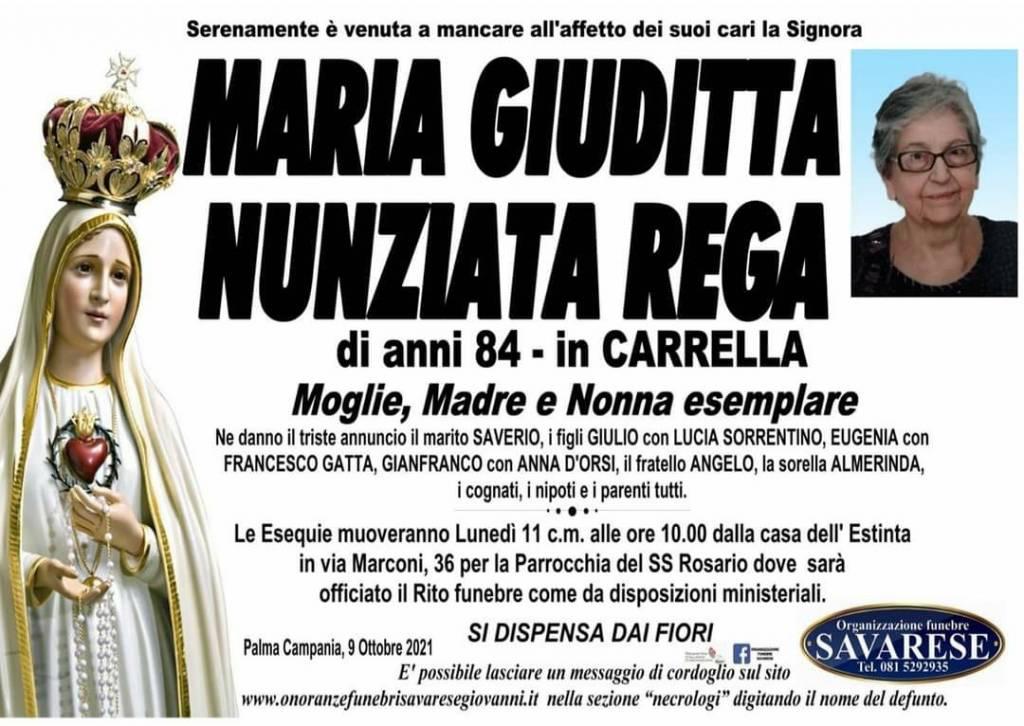 Manifesto funebre di  Maria Giuditta Nunziata Rega