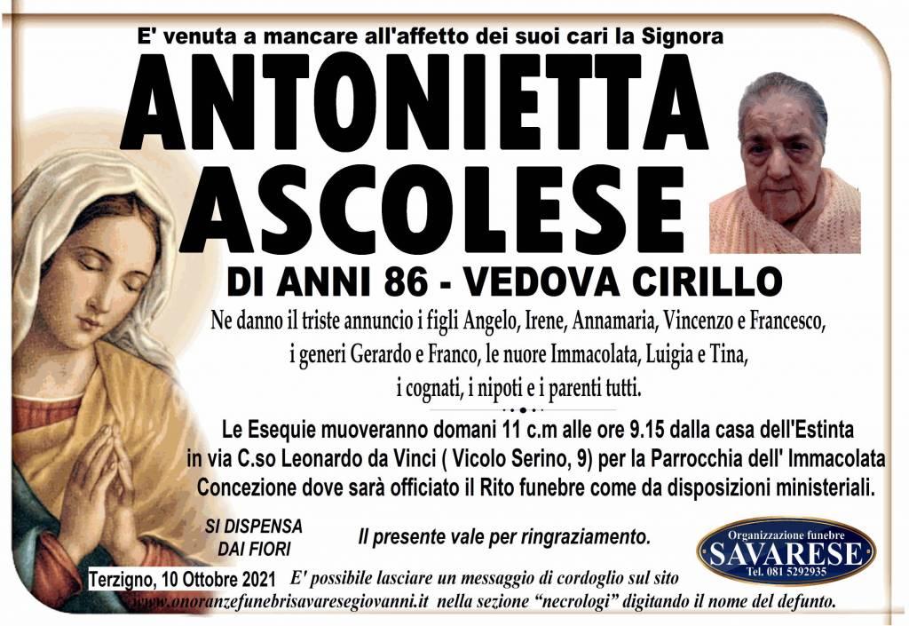 Manifesto funebre di  Antonietta Ascolese