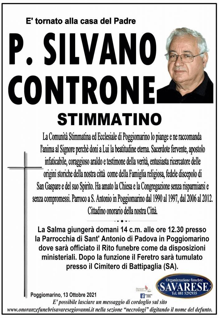 Manifesto funebre di  P. Silvano Controne