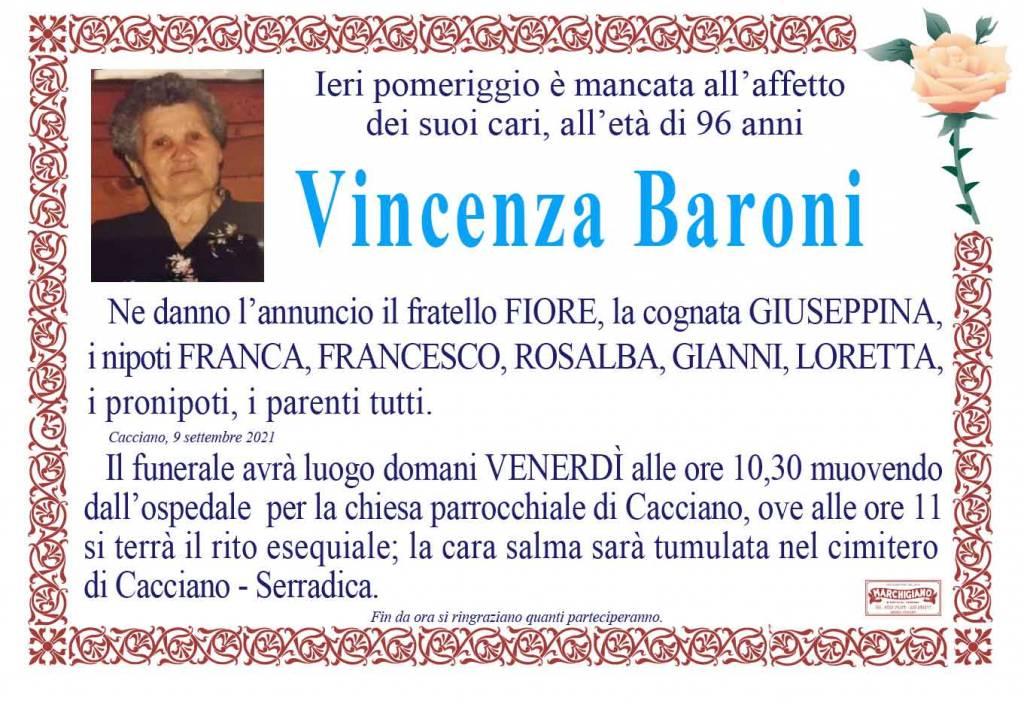Manifesto funebre di  Vincenza Baroni