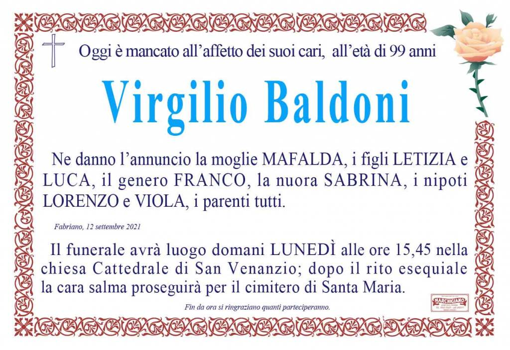 Manifesto funebre di  Virgilio Baldoni