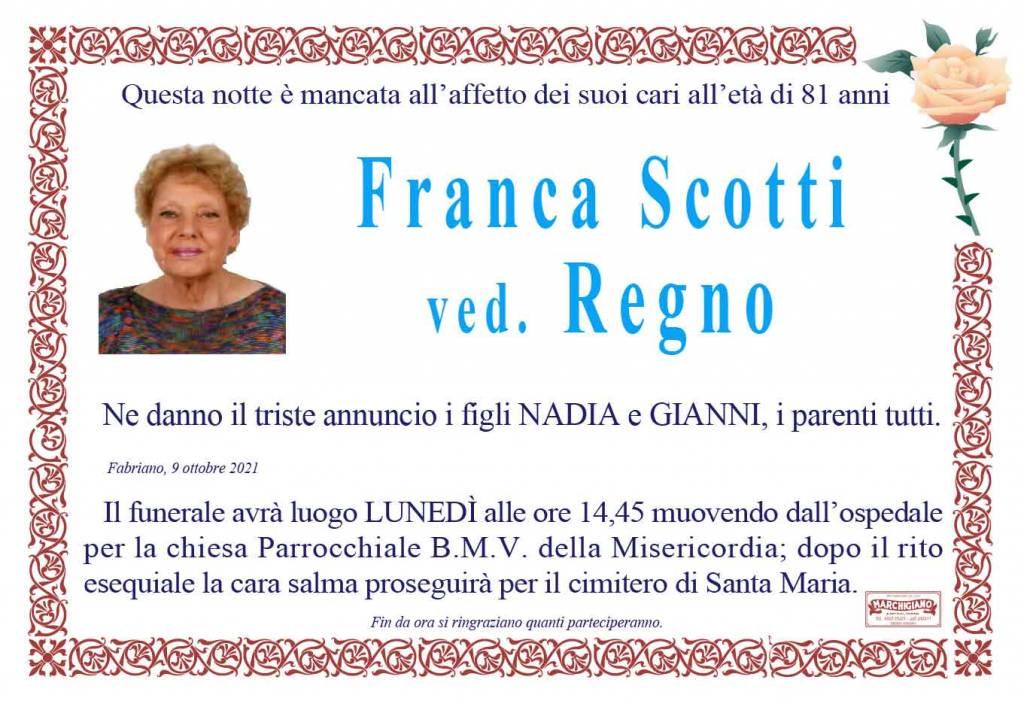 Manifesto funebre di  Franca Scotti Ved. Regno