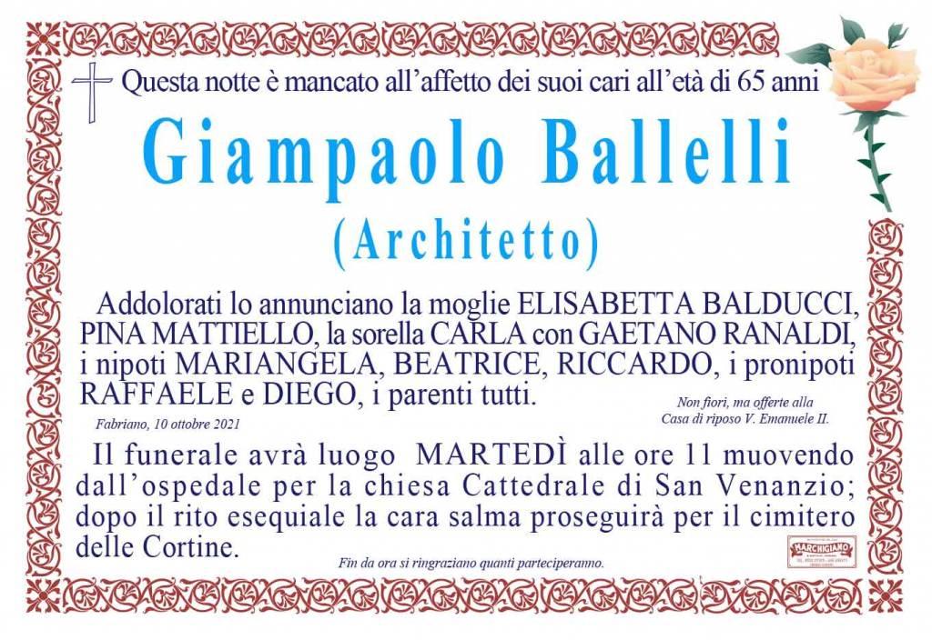 Manifesto funebre di Architetto Giampaolo Ballelli