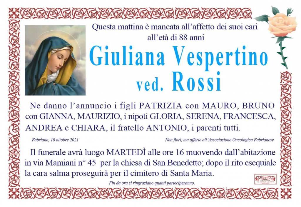 Manifesto funebre di  Giuliana Vespertino Ved. Rossi