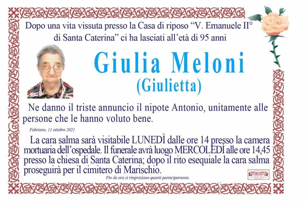 Manifesto funebre di  Giulia Meloni