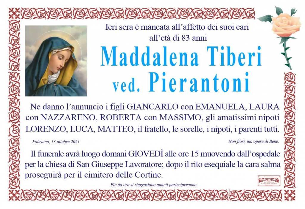 Manifesto funebre di  Maddalena Tiberi Ved. Pierantoni