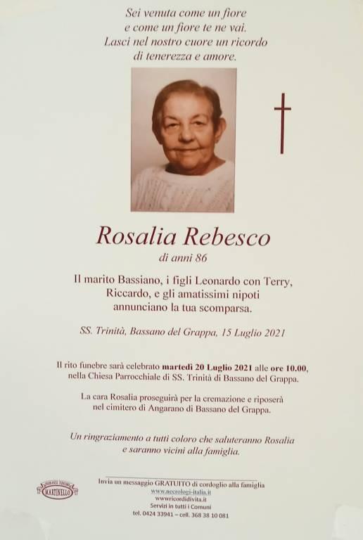 Manifesto funebre di  Rosalia Rebesco
