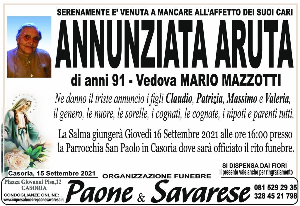Manifesto funebre di  Annunziata Aruta